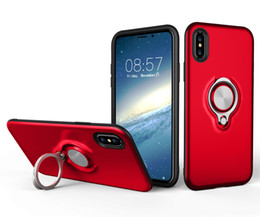 Iphone hüllen metallring online-2in1 Hybrid Armor Cover Adsorptive Metall-Auto-Ring mit Halterung für iPhone 6 6plus 7 7plus X Samsung S8 S8 plus S9 S9 plus