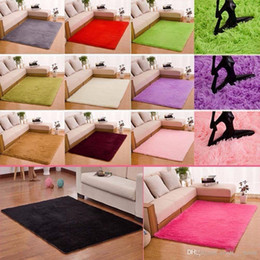 Wholesale Polyester Shaggy Carpets - Fluffy Rugs Anti-Skid Shaggy Area Rug Dining Room Home Bedroom Carpet Floor Mat, 14 Colors, 4 Sizes