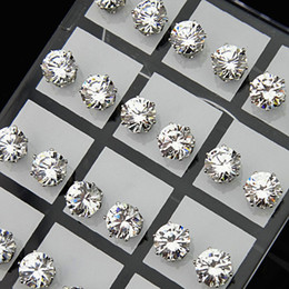 Wholesale Rhodium Stud Earrings - Fashion 24pcs 8mm Clear Austria Cubic Zirconia Stainless Steel Stud Earrings for Womens Mens Wholesale Jewelry Lots A-645