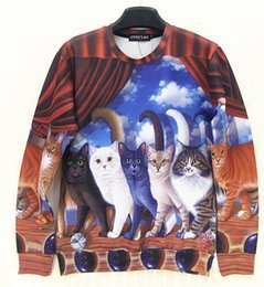 Wholesale Dog Couture - w20151222 Couture 2015 Spring New Fashion Unisex Clothes 3D Animal Sweatshirt Cat Dog Print Hoodies Brand Design Tops Crewneck Size S-XL
