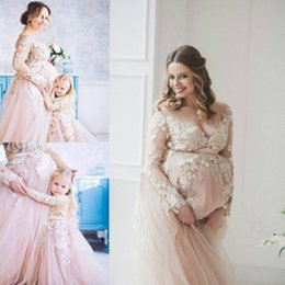 Wholesale Pregnant Women Evening Dress - Romantic Long Sleeves Appliques Sweep TRAIN Tulle Formal Wear For Pregnant Women Evening Dresses Prom Dresses Custom MADE