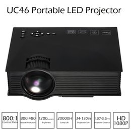 Wholesale Projector Full Hd Wifi - UC46 Mini LED Projector 1200 Lumens Full HD 1080P Proyector DLNA Miracast WiFi Display USB VGA Input Home Cinema Video Projector V1984