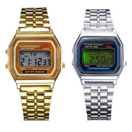 Wholesale Rectangle Led - New A159W watches Mens Classic Stainless Steel Digital Retro Watch Vintage Gold and Silver Digital Alarm A159W Sports Watches A159 A159W