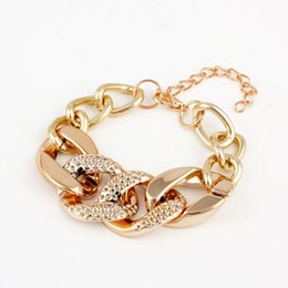Wholesale Cheap Gold Charm Bracelets - Bracelet Bangle for Women Jewelry Fashion Cheap Gold Plated Alloy Chain Chunky Bracelets & Bangles Women Charm Bracelets