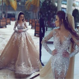 Wholesale Wedding Dresses Detachable Cathedral Train - Luxury Champagne Long Sleeves Wedding Dresses With Detachable Overskirts Major Beading Arabic Vintage Bridal Gowns Custom Made Wedding Gowns