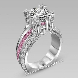wholesale pink topaz jewelry Coupons - SZ5-11 Luxury wholesale Professional fashion jewelry 10kt white gold filled Gf pink topaz Wedding Engagement Band Ring set gift