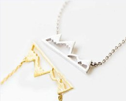 Wholesale Gold Chain Top - 10pc 2015Dainty Snowy Mountain Top Necklaces for Women Snowcap Mountain Jewelry Necklace XL181