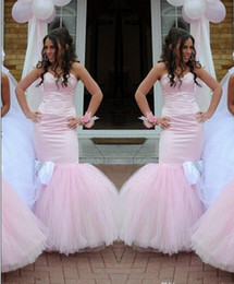 Wholesale Dresse For Wedding - 2015 Sweetheart Mermaid Bridesmaid Dresses For Wedding With Tulle Sweep Train Sexy Backless Sheath Long Bridesmaid Gowns Formal Party Dresse