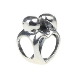 Wholesale Moms Hole - Beads Hunter Jewelry Authentic solid 925 Sterling Silver Mom & Baby Charm 925 stamp big hole bead For European Bracelet snake chain bangle