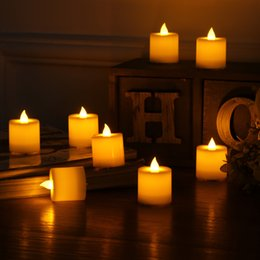 Wholesale Simulation Candle Light - 10 Pcs Led Electronic Flameless Candles Yellow Tea Light Simulation Flame Flicker Candle Lamps Mini Candles For Wedding Party