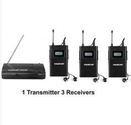 Wholesale Takstar Ear Monitor System - 2014 UHF Wireless In Ear Stage Monitor System TAKSTAR In Ear Stage Wireless Monitor System 3 Receiver + 1 Transmitter WPM-200 free shipping