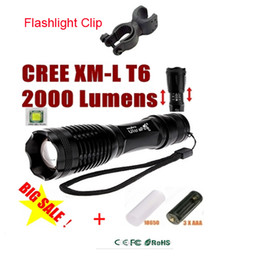Wholesale Tactical Flashlight Clip - Big Discount! E007 CREE XM-L T6 2000 Lumens 5 Mode Zoom LED Flashlight Torch For 3 x AAA or 1 x 18650 for camping + Torch Clip