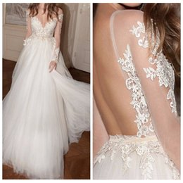 Wholesale Inexpensive Tulle Wedding Dresses - Top Sale! Sheer Shoulder Long Sleeve Lace Appliques Berta A-Line Wedding Dresses Tulle Sweep Train Beaded Bridal Gowns Inexpensive Backless