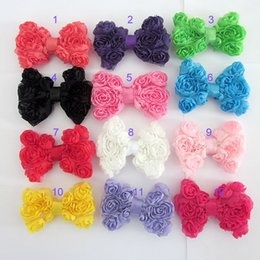Wholesale Rosette Chiffon Hair Bow - Mixture colors DIY Children Headwear Chiffon Hair Accessories Rosette bows for DIY on Headband Hairclips Women's Side Clip Free shipping