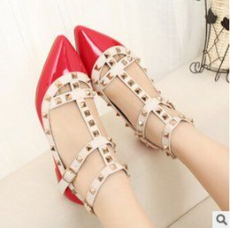 Wholesale Wedge Colors - Hot Selling Women Calfskin Pointed Toe Rivets Flat Shoes,Genuine Leather Flats 39 Colors