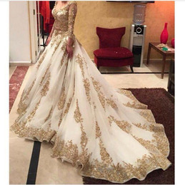 Wholesale White Cinderella Gowns - Cinderella Lace V-neck Long Sleeve Arabic Evening Dresses 2016 Gold Appliques Bling Sequins Sweep Train Amazing Prom Dresses Formal Gowns