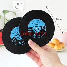 Wholesale Tea Coffe - Hot Novelty Gift Drinks Retro CD Vinyl Record Coffe Tea Drinking Coasters Anti-Heat Cup Mat classic cup coasters Hot Promotion