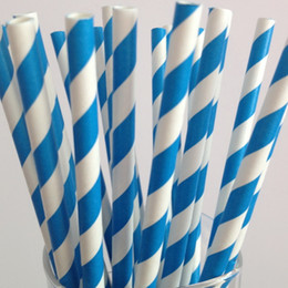 Wholesale Striped Straws Blue Free Shipping - Free Shipping 50pcs Bright Blue Striped Paper Straws Christmas Wedding Decoration