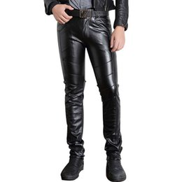 Wholesale Slim Fit Trousers For Men - Black Tights Motorcycle Trousers Autumn Winter Clothing Slim Fit Casaul Track Joggers For Mens Faux Leather Pants Men Skinny