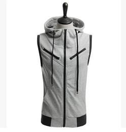 Wholesale Mens Summer Hoodie - Wholesale-Sweatshirt Sudadera Moleton New 2015 Mens summer style sweatshirt Sleeveless Hoodies Hip Hop Men hoodies men hoodie tracksuits