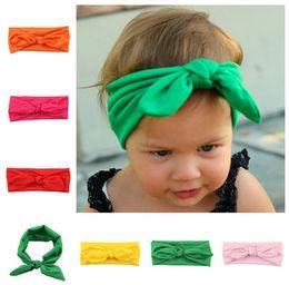 Wholesale Big Pink Hair Bow Headband - Baby Girls Cute Headband 8 Colors Elastic Big Bow Children Hair Accessories Kids Bunny Ear Headband