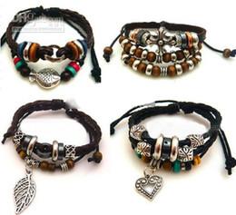 Wholesale Wooden Bead Bracelet Cross - 2016 hot sales Mixed style retro leather bracelet cross wooden bead bracelet love bracelet charm fashion jewelry 15pcs lot