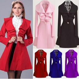Wholesale Ladies Xxl Clothing - 2016 Winter Women Trench Coats Fashion Long Ruffled Woolen Coat Plus Size Ladies Long Sleeve Jackets Clothing Outerwear W17 M L XL XXL