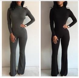 Wholesale Prom Jumpsuits - New women prom jumpsuit bodysuit boot cut sexy fashion romper club fitness jumpsuits drop shipping
