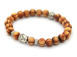 Wholesale Wood Buddha - Wholesale New Arrival Products 8mm Antique Silver Buddha Head Beaded Bracelets With Nice Wood Beads Jewelry