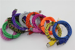 Wholesale 3m Galaxy S4 - 3M 2M 1M Micro usb Nylon Fabric Braid Cable Data Sync charging USB Cord 10 Colors For Samsung Galaxy S4 S3 Note2 BB Z10 HTC 100pcs up