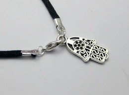 Wholesale Kabbalah Black Bracelet - 50Pcs Fashion Vintage Silver Kabbalah Hamsa Hand Charms Black Nylon String Good Luck Bracelets&Bangles Men Jewelry Valentine's Gif N1922