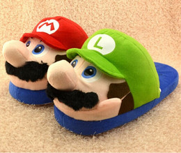 "Wholesale Novelty Fabric Prints - Retail 1 Pair Super Mario Bros Mario and Luigi Lovers Plush Slipppers Winter Indoor 11"" Free Shipping"