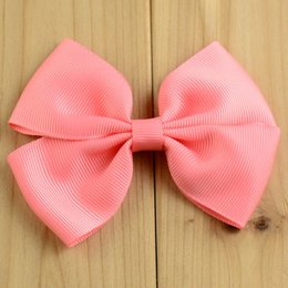 "Wholesale Alternative Diy - Wholesale 110pcs lot Baby Girls Hair Bows For Hair DIY Handmade Grosgrain Ribbon Hair Bow 22 colors Alternative 9cmx7cm 3.54""x2.76"" HA0427"