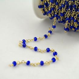 Grânulos banhados a ouro de 24k on-line-DIY 4 MM Fio Enrolado Frisado Cadeias 24 k banhado a ouro Rosário cadeia Azul Profundo cor facetada contas De Cristal jóias fazendo