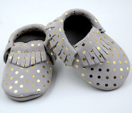 Wholesale Gold Baby Sandals - Fedex Free 2016 new 100% leather baby moccasins baby Gold Dot mocss baby shoes sandals fringe shoes infant tassel fringe Polka walking shoes