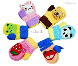 Wholesale Panda Gloves - Free shipping 2015 A sound cute baby warm gloves cartoon animal rabbit panda strawberry lanyard Mitten gloves