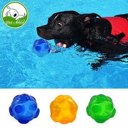 Wholesale Dog Tooth Ball - Chew Dog Toys Squeaky Waterproof Ball Training Tooth Cleaning Toy For Pets 3 Colors Blue Green Yellow