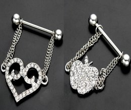 Wholesale Nipple Out - Surgical Steel Hollow Out LOVE Heart Apple Chain Pendant Piercing Nipple Rings Nipple Bar Clip On Piercing Nipple Shield Ring Jewelry