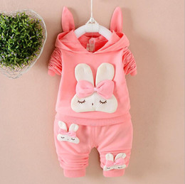 Wholesale winter rabbit hats - Baby Clothing Girl Rabbit Hoodies+Pants 2 Pieces Suits Lovely Rabbit Ears Hat 3 Colors 4 S L