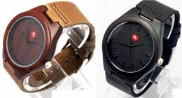 Wholesale Japanese Sandals Women - Newest Classic Sandalwooden Watch japanese miyota 2035 movement casual wristwatches genuine leather Red Sandal wood watches for men women