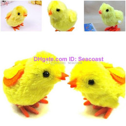 Wholesale Clockwork Chickens - 200pcs lot Vogue Baby Lovely Pecking Jumping Yellow Plush Chick Clockwork Spring Clockwork Toy Chick Chicken Fluffy Hopping Cute Gift Chicks