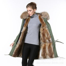 Wholesale Oversized Fur Collar - Multicolor New winter thick cotton army coat Rabbit fur collar wool liner long paragraph oversized Slim female woman