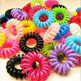 Wholesale Ties Head For Girls - Free Shipping Cheap Candy Color Elastic Telephone Wire Cord Head Ties Hair Rubber Bands Rope Ring For Girls Ladies 100 pcs per lot