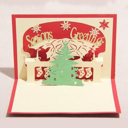 100 mm * 150 mm de alta calidad hechos a mano árbol de navidad feliz palabras tarjetas de saludos Kirigami 3D pop-up tarjeta de la venta caliente del envío gratis desde fabricantes
