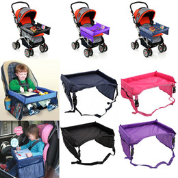 Wholesale travel trays car - Children Tables Baby Car Safety Belt Travel Play Tray Waterproof Foldable Table Kids Car Seat Cover Pushchair Snack With Opp Package WX9-170