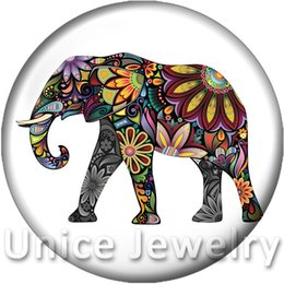 Wholesale Diy Charms For Sale - AD1301497 12 18 20mm Snap On Charms for Bracelet Necklace Hot Sale DIY Findings Glass Snap Buttons Elephant Design noosa