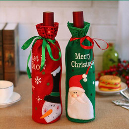 Wholesale Elderly Wigs - Christmas Decoration Supplies Red Wine Bottle Cover Bags Embroidery Elderly Snowman Christmas Wine Sets Gift Bags Sequins Bottle Sets