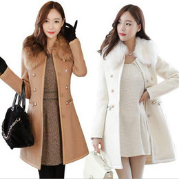 Wholesale Womens Trench Coat Slim - Woman Coat Outerwear Winter 2015 Korean Womens Thick Woolen Coat Fur Collar Double Breasted Slim Long Wool Trench Winter Coats for Women