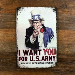 """Wholesale Decorative Wall Plaques - Wholesale- New arrival 20X30CM""""I WANT YOU""""US wall art craft metal Tin signs home decor vintage decorative plaques for bar SP--XZ-YW-011"""