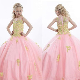 Wholesale Glitzy Beads - Glitzy 2015 Appliques Beads Girls Pageant Dresses With Crew Neckline Sleeveless Zipper Back Ball Gown Long Tulle Flower Girl Dress